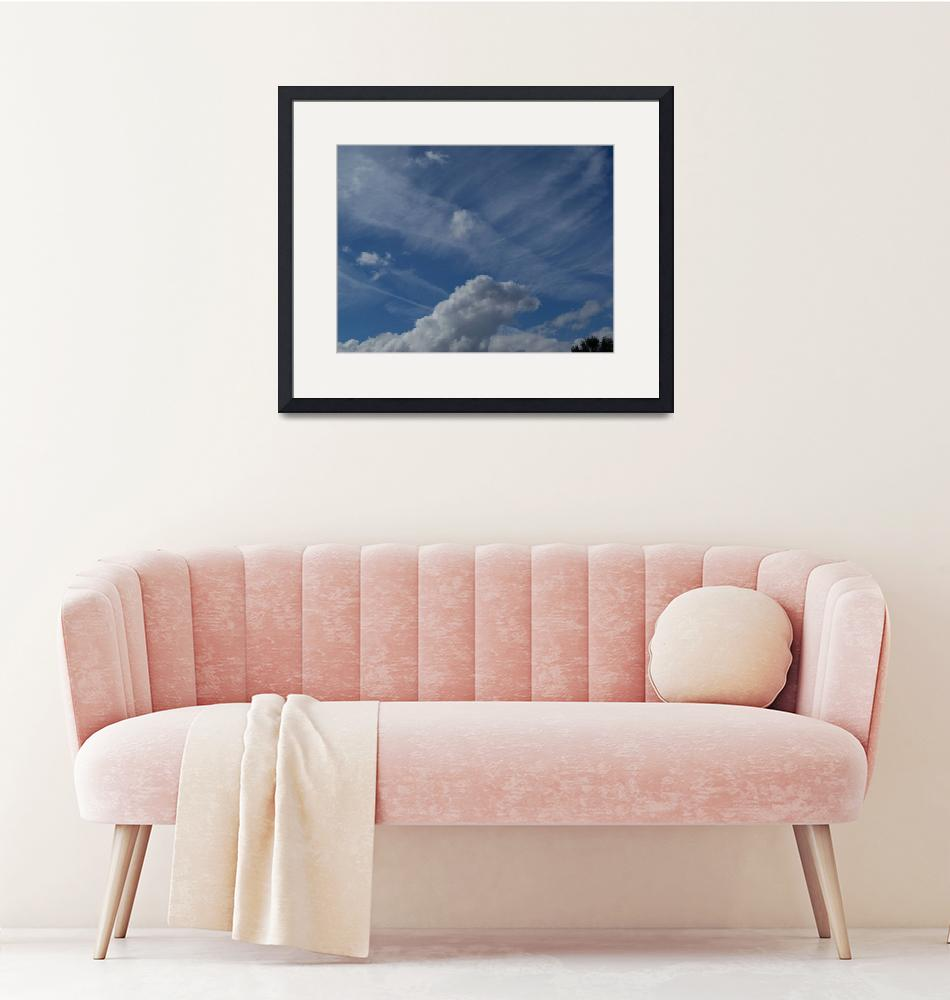 """""""Different kinds of clouds on  bright blue sky""""  (2018) by NormaStampSunnyDaze"""