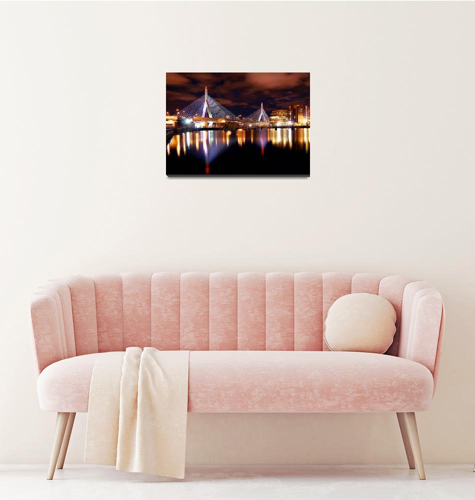 """Zakim Bridge Night time in Boston"" by gmrshots"