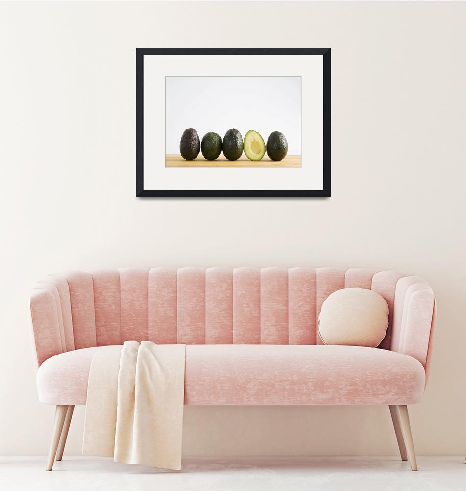 """""""A Row Of Avocados With Interior Of One Showing Sta""""  by DesignPics"""