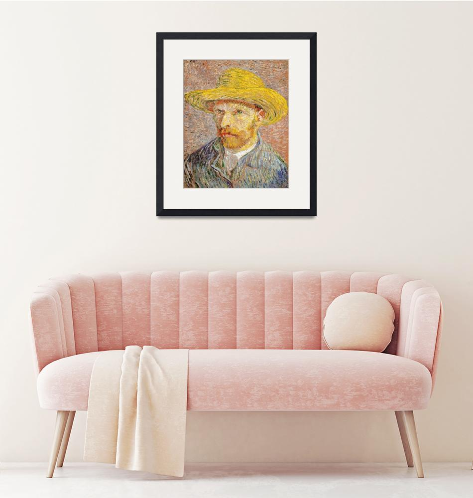 """Self-Portrait with Straw Hat by Van Gogh""  by FineArtClassics"