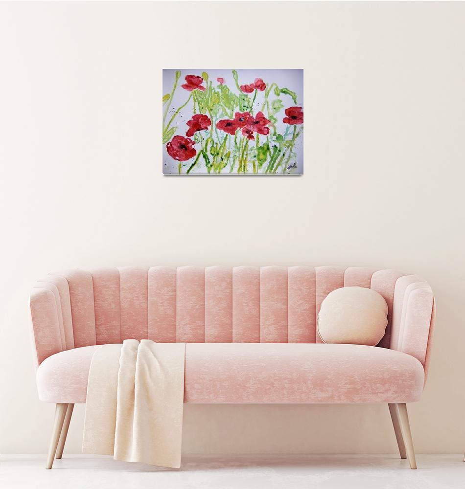 """poppy flower yupo painting""  (2008) by derekmccrea"