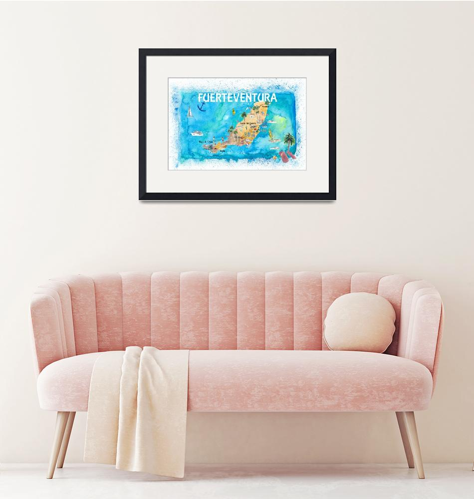 """""""Fuerteventura Canarias Spain Illustrated Map with""""  (2020) by arthop77"""
