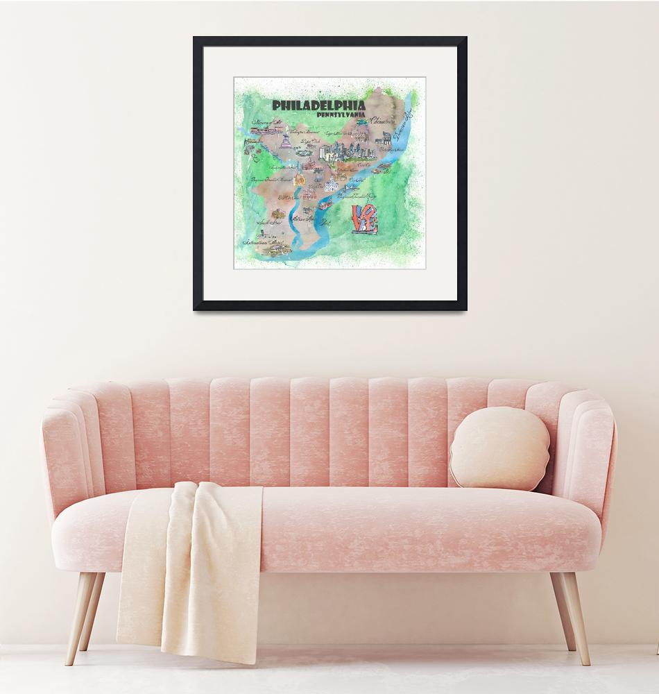 """Philadelphia Fine Art Print Retro Vintage Map""  (2018) by arthop77"
