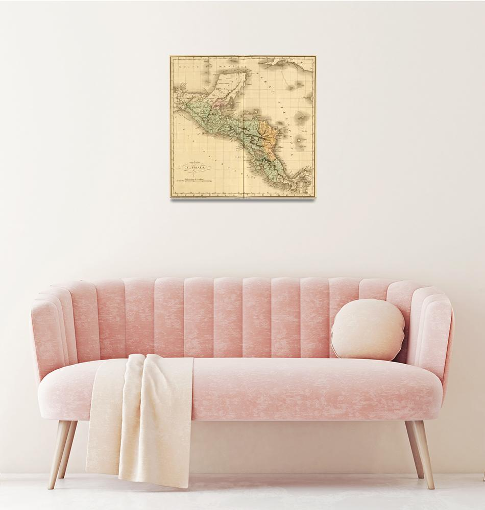 """""""Vintage Map of Guatemala (1825)""""  by Alleycatshirts"""