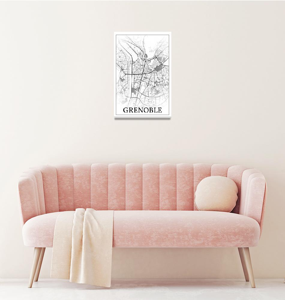 """Grenoble, France, city map print.""  by dandistudio"