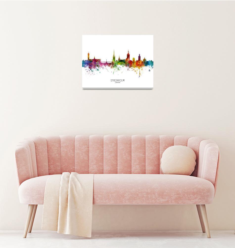 """""""Stockholm Sweden Skyline""""  (2019) by ModernArtPrints"""
