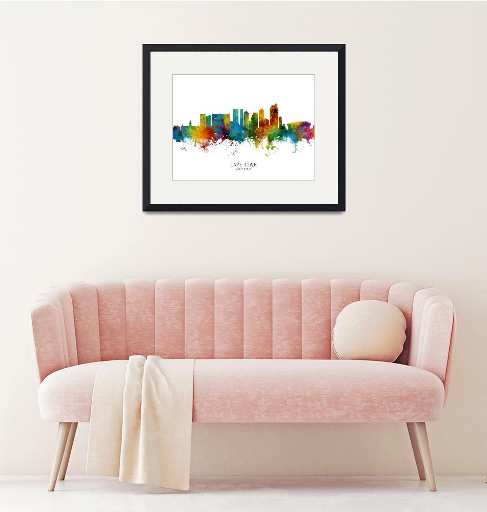 """Cape Town South Africa Skyline""  (2019) by ModernArtPrints"