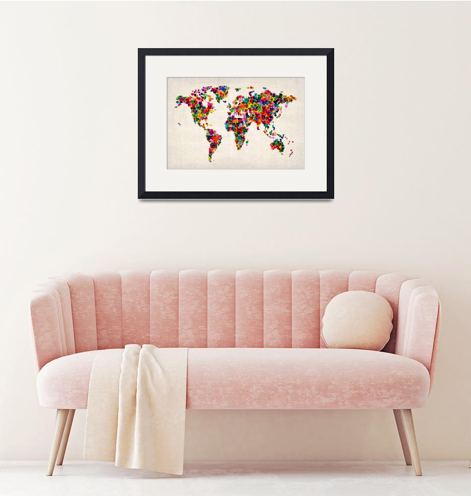 """Love Hearts Map of the World Map""  (2012) by ModernArtPrints"