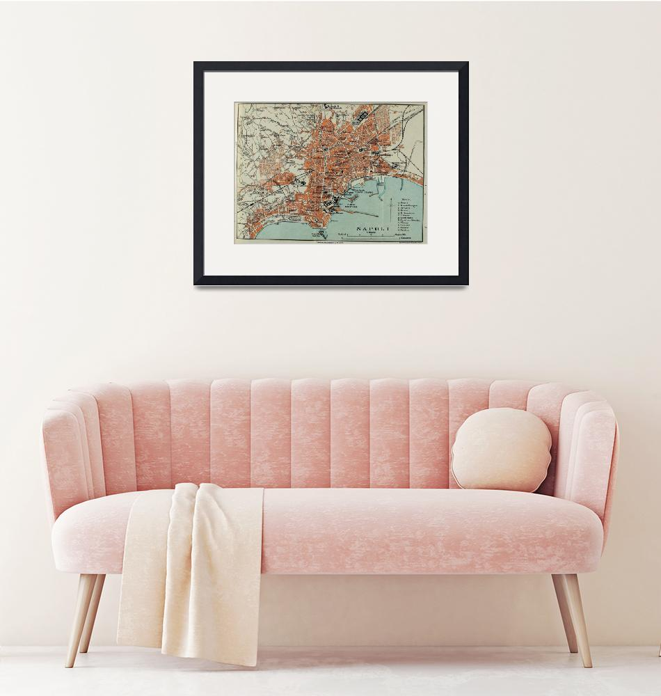 """""""Vintage Map of Naples Italy (1911)""""  by Alleycatshirts"""