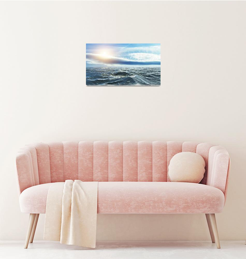 """""""Horizon of the sea at sunset in the Atlantic""""  (2019) by Fraenks"""