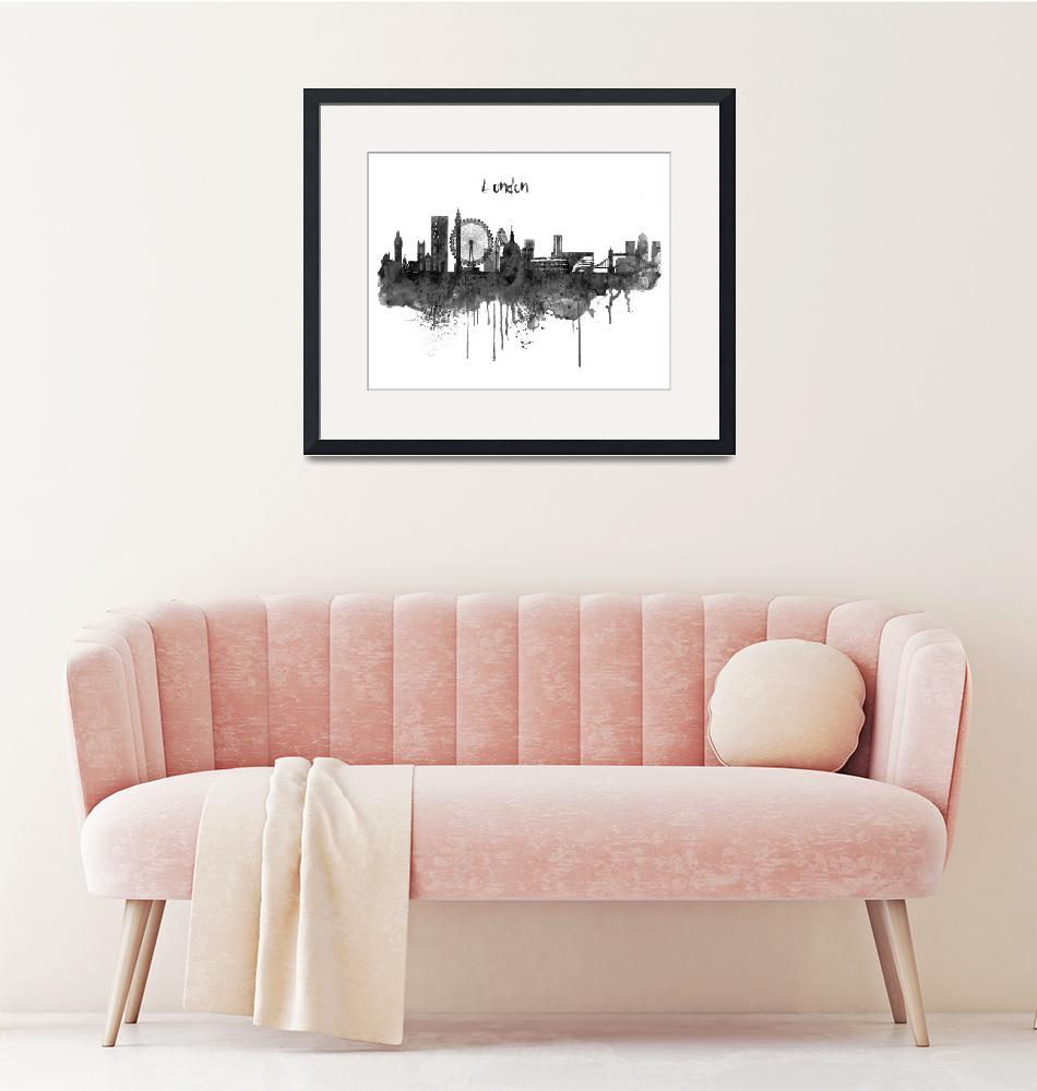 """""""London Black and White Skyline watercolor""""  (2019) by MarianVoicu"""