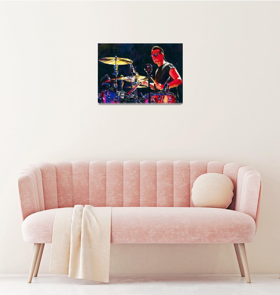 """Red Larry Mullen Jr Drumming""  (2018) by KellyEddington"