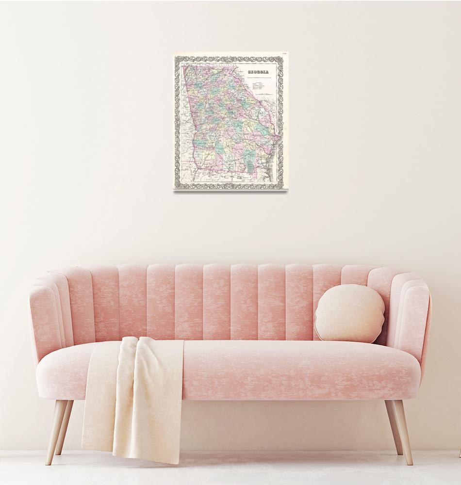 """Vintage Map of Georgia (1855)""  by Alleycatshirts"