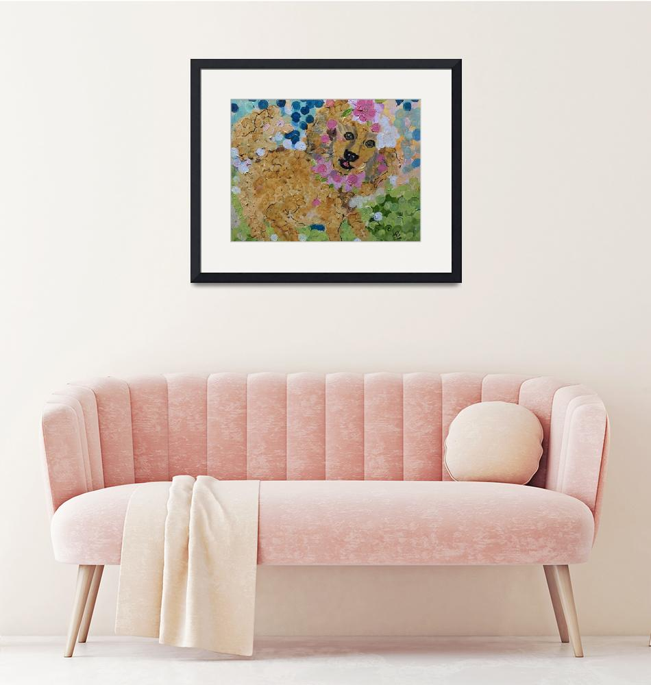 """""""Dog in The Flowers""""  (2020) by YvonneSneadArt"""