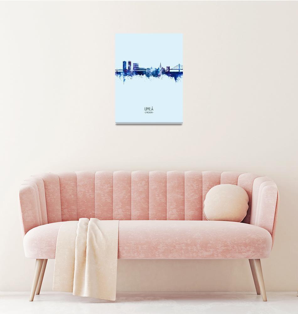 """Umeå Sweden Skyline""  (2020) by ModernArtPrints"