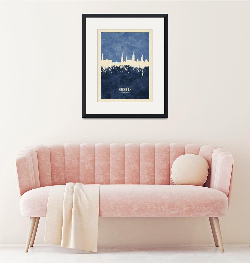 """Stockholm Sweden Skyline""  (2019) by ModernArtPrints"