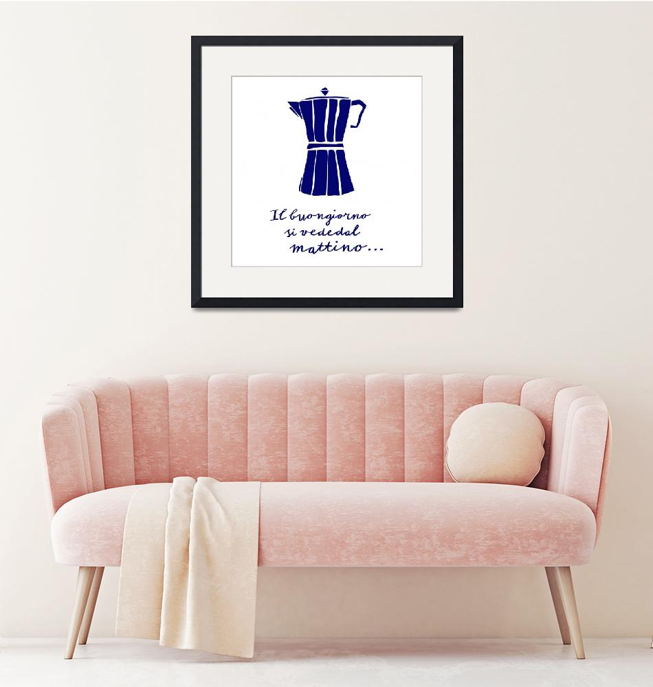 """""""Italian kitchen art coffee brewer quote blue white"""" (2018) by Lebonvintage"""