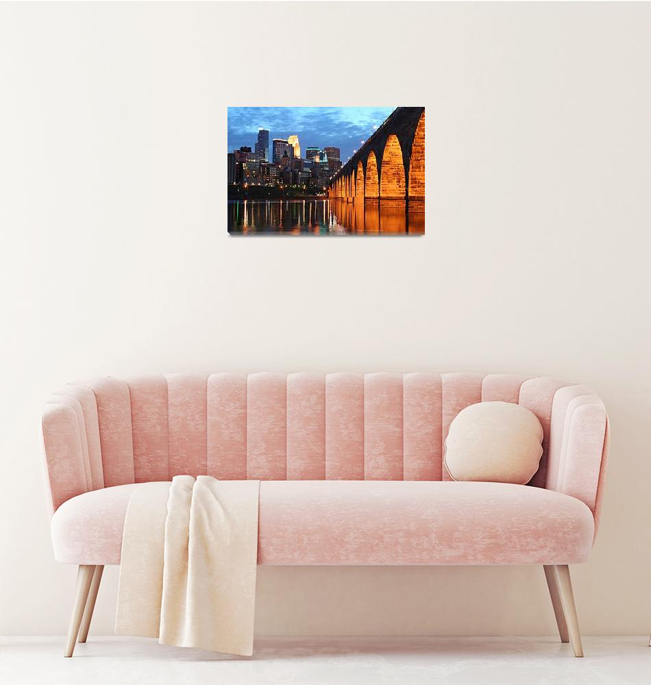 """Minneapolis Skyline Photography Stone Arch Bridge""  (2006) by WaynePhotoGuy"