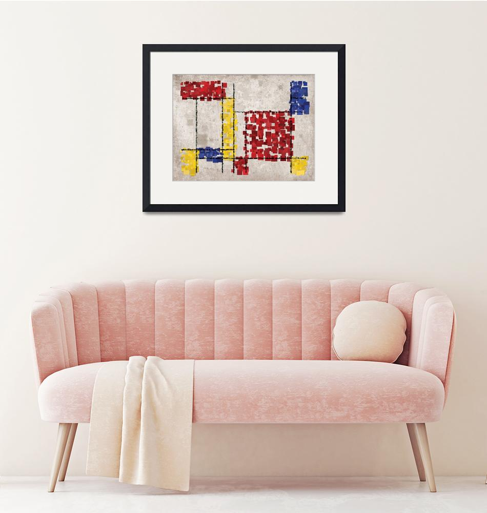 """Mondrian Inspired Squares""  (2010) by ModernArtPrints"