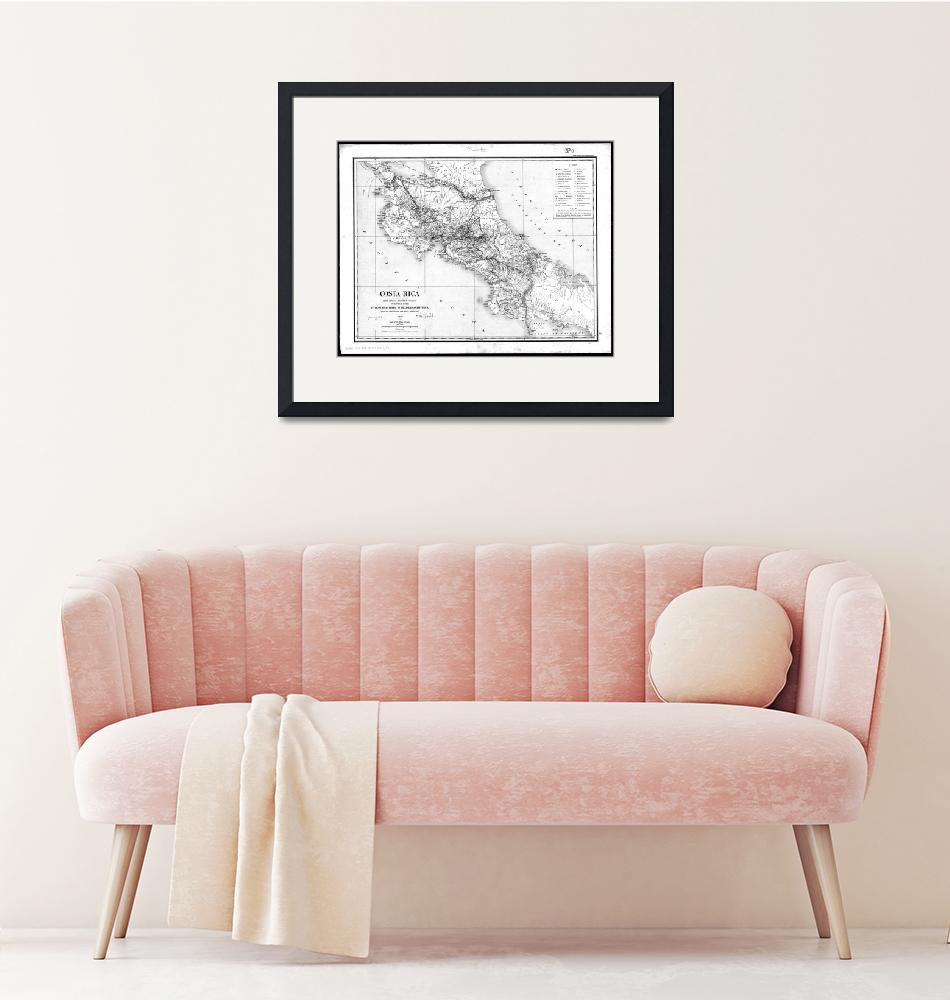 """""""Vintage Map of Costa Rica (1903) BW"""" by Alleycatshirts"""