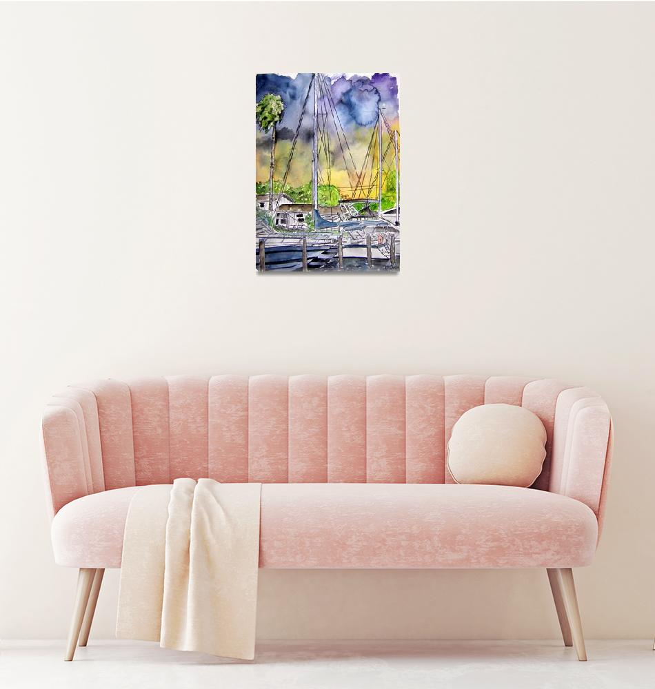 """""""boat marina abstract painting""""  (2008) by derekmccrea"""