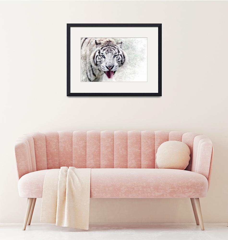 """""""White Tiger Animal Art""""  (2016) by rogueart"""