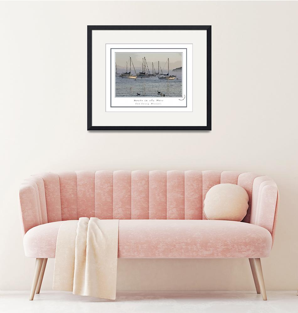 """Boats in the Mist_Poster Edges""  (2009) by BeeCreativeDesigns"