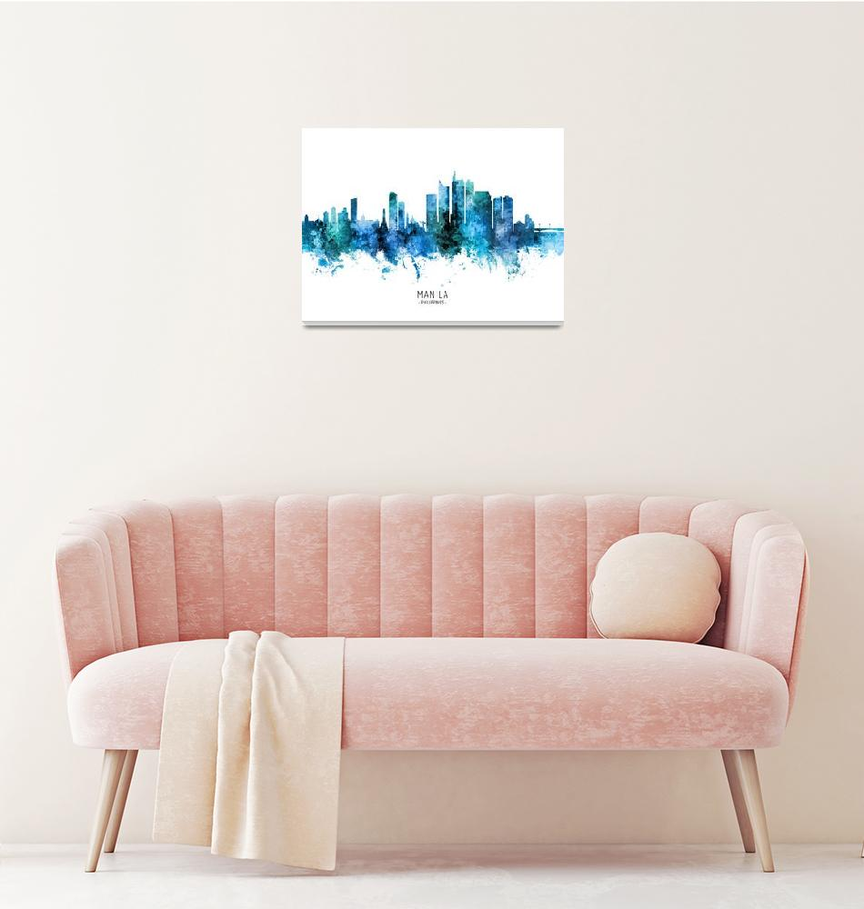 """Manila Philippines Skyline""  (2020) by ModernArtPrints"