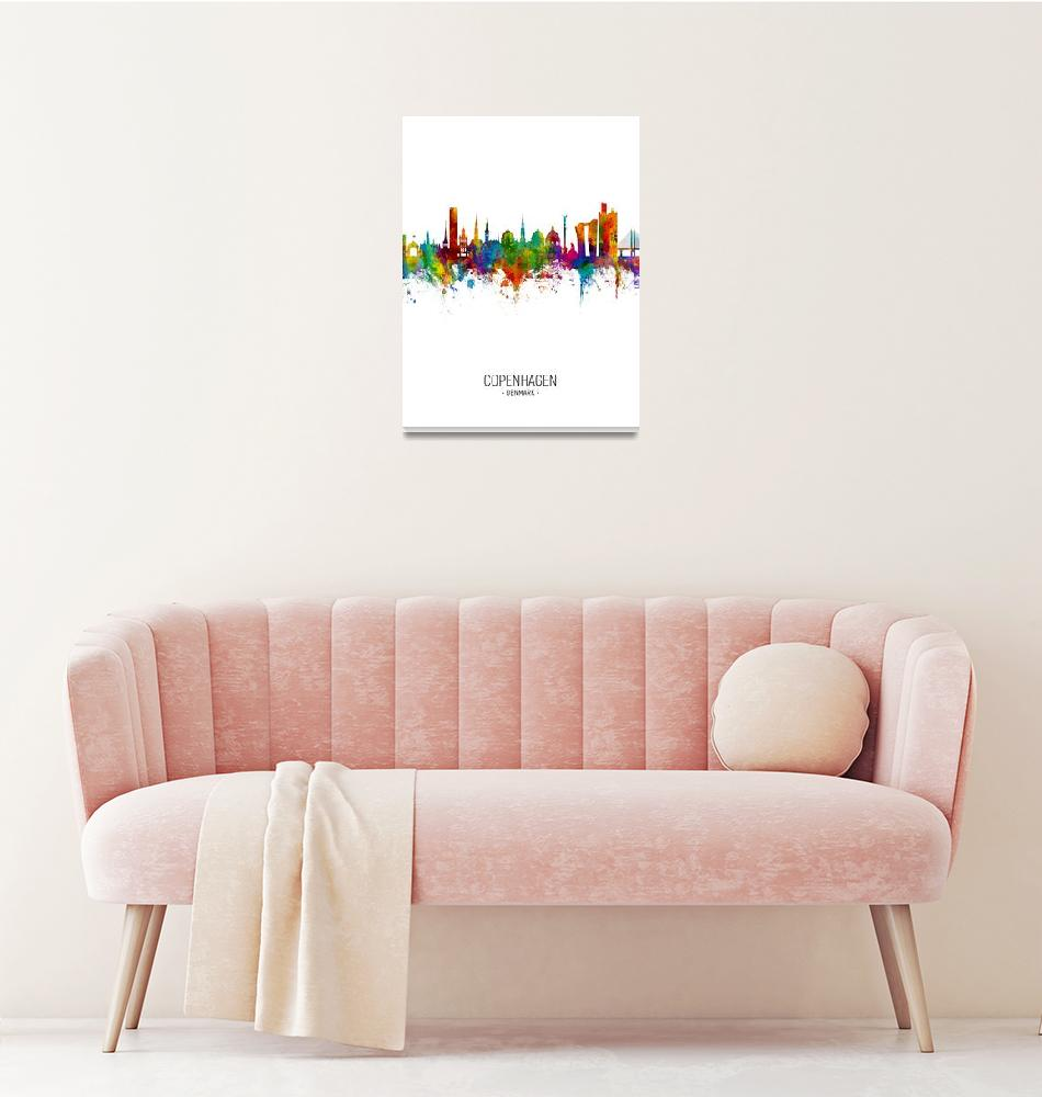 """Copenhagen Denmark Skyline""  (2018) by ModernArtPrints"