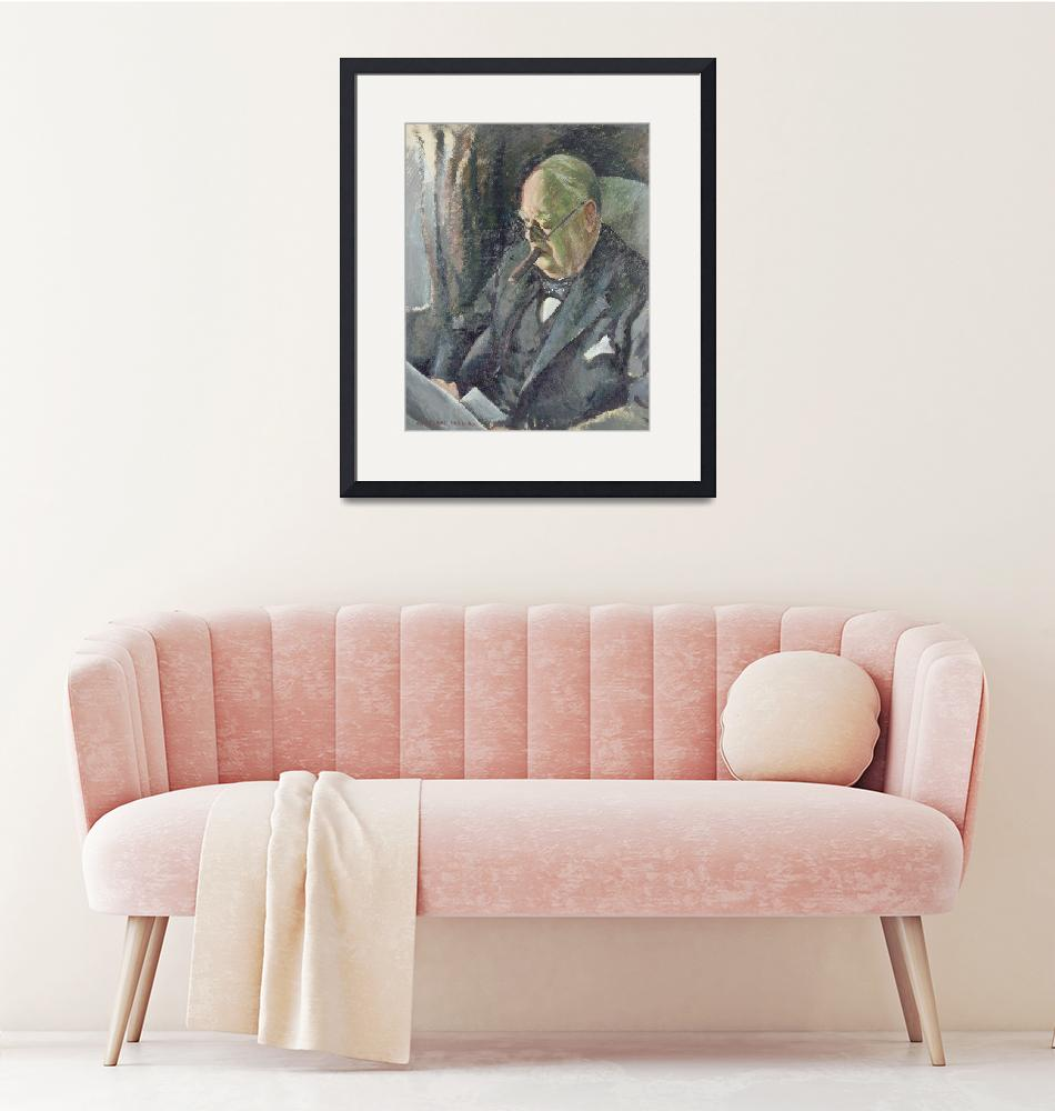 """""""Portrait of Sir Winston Churchill (1874-1965)""""  by fineartmasters"""