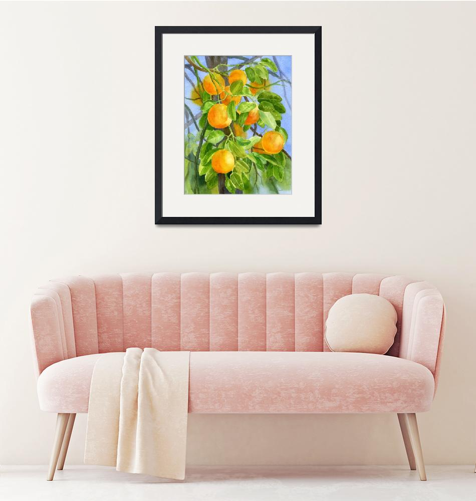 """""""Oranges on a Branch with background""""  (2013) by Pacific-NW-Watercolors"""