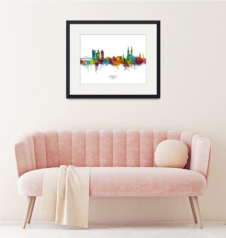 """Zagreb Croatia Skyline""  (2019) by ModernArtPrints"