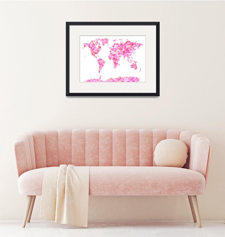 """Love Hearts Map of the World Map""  (2011) by ModernArtPrints"