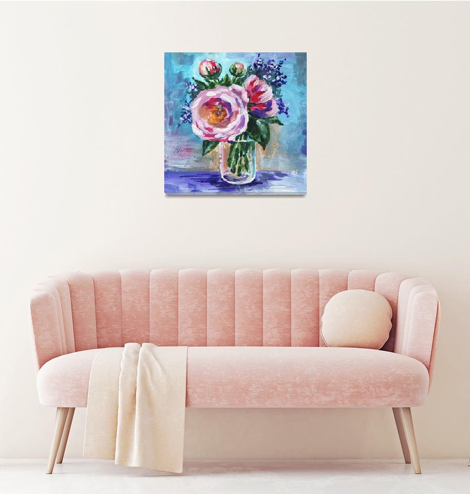 """Gentle Impressionistic Flowers Bouquet in The Vase""  (2019) by IrinaSztukowski"