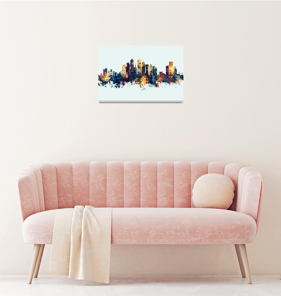 """Doha Qatar Skyline""  (2019) by ModernArtPrints"