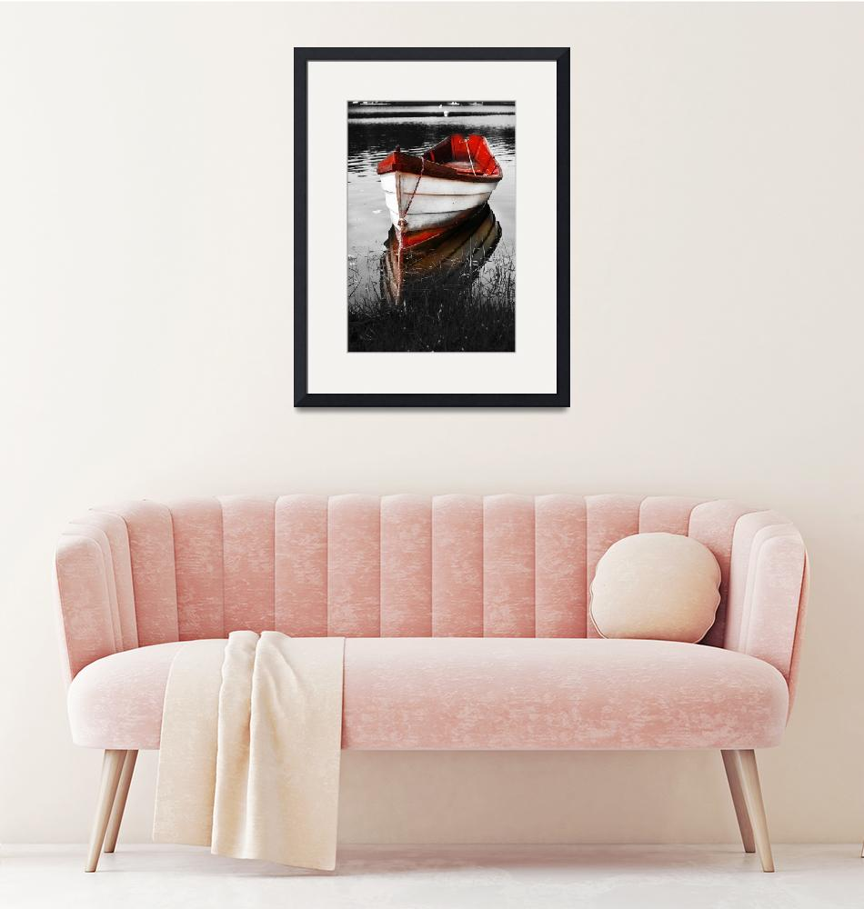 """""""Black and White Red Boat""""  (2008) by Black_White_Photos"""