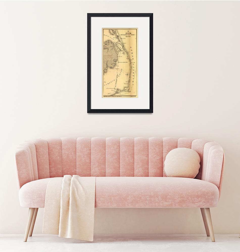 """""""Vintage Map of The Outer Banks (1862)""""  by Alleycatshirts"""