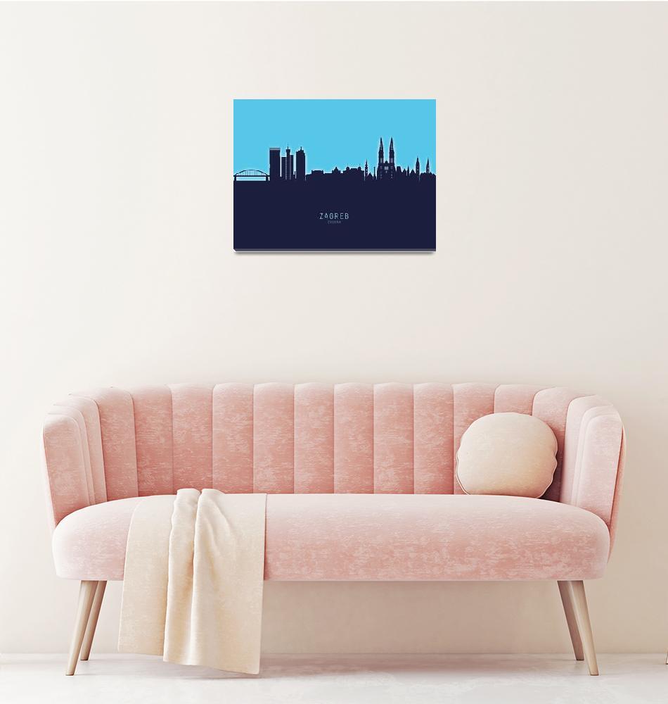 """Zagreb Croatia Skyline""  (2020) by ModernArtPrints"