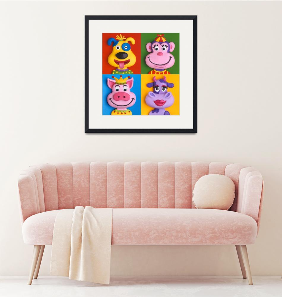 """""""Four Animal Faces""""  (2009) by AmyVangsgard"""