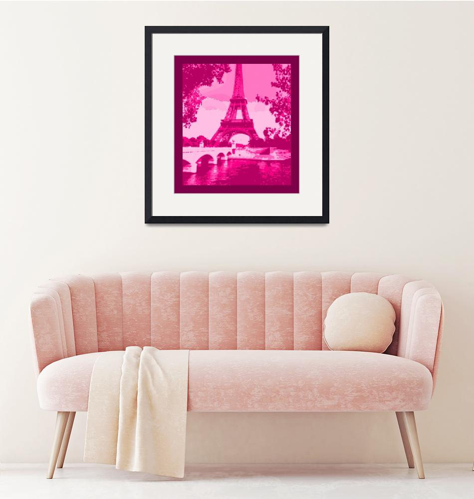 """""""Eiffel Tower Seine River Enhanced Pink Cropped bor""""  (2013) by TheNorthernTerritory"""