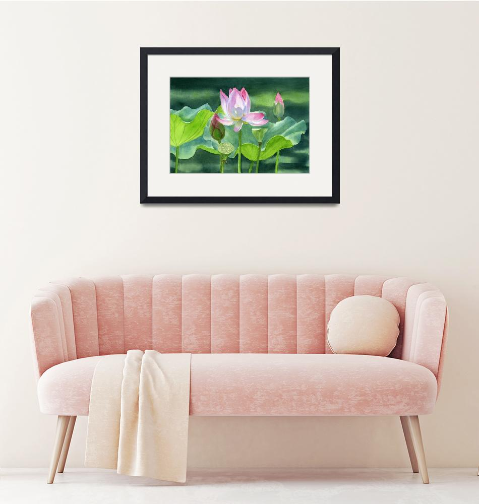 """""""Pink Lotus Blossom with Bud and Seed Pods""""  (2015) by Pacific-NW-Watercolors"""