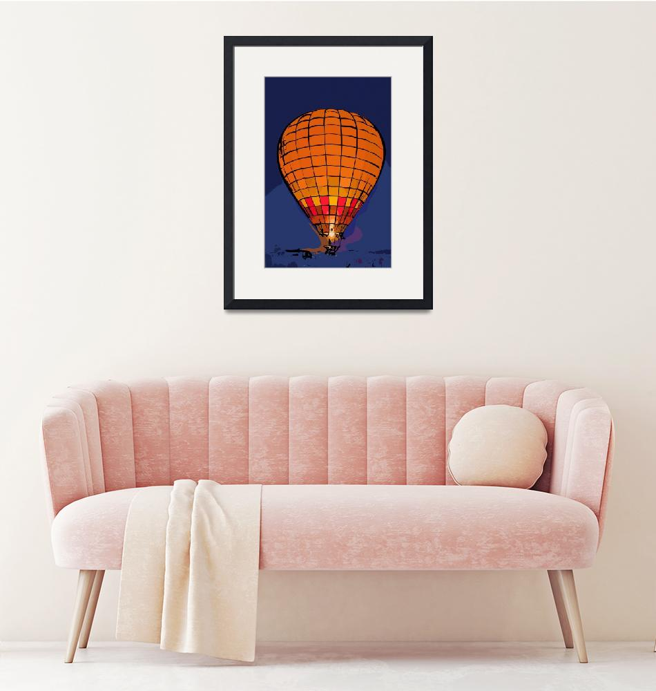 """""""Peach Hot Air Balloon Night Glow In Abstract"""" (2015) by Kirtdtisdale"""