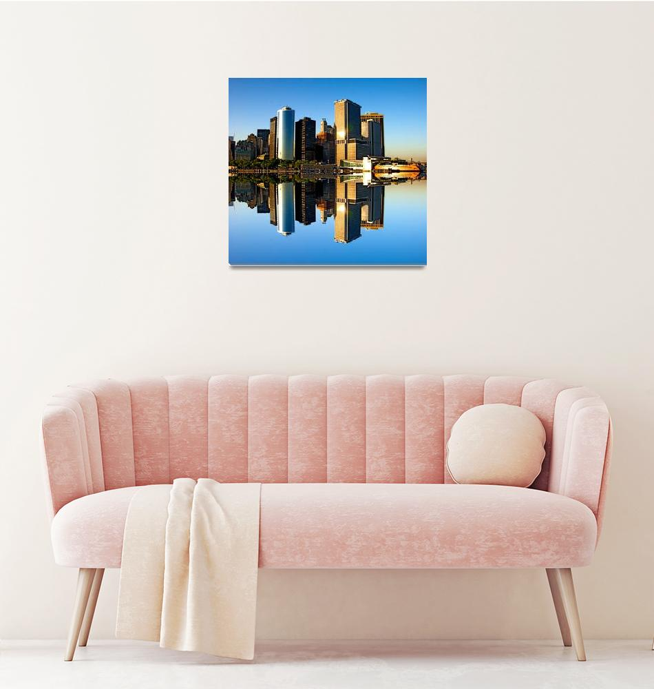 """""""Reflecting on Lower Manhattan""""  (2009) by New-Yorkled"""