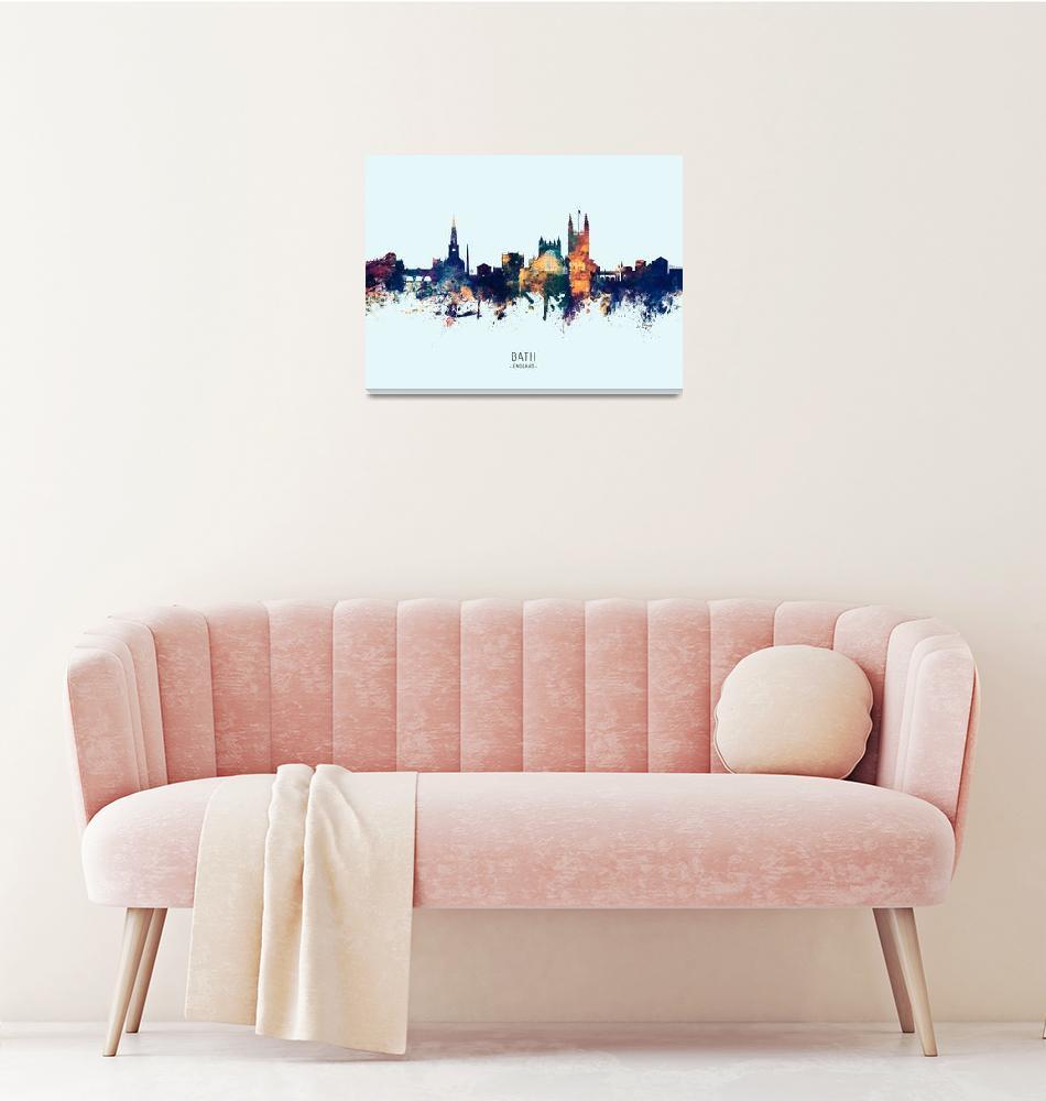 """Bath England Skyline Cityscape""  (2019) by ModernArtPrints"