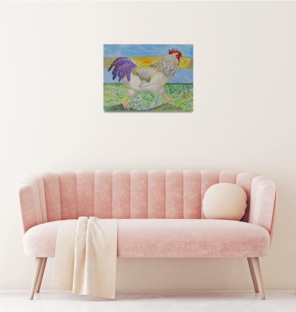 """Rooster/Chicken Art - On The Run""  (2009) by SunfluerDesigns"