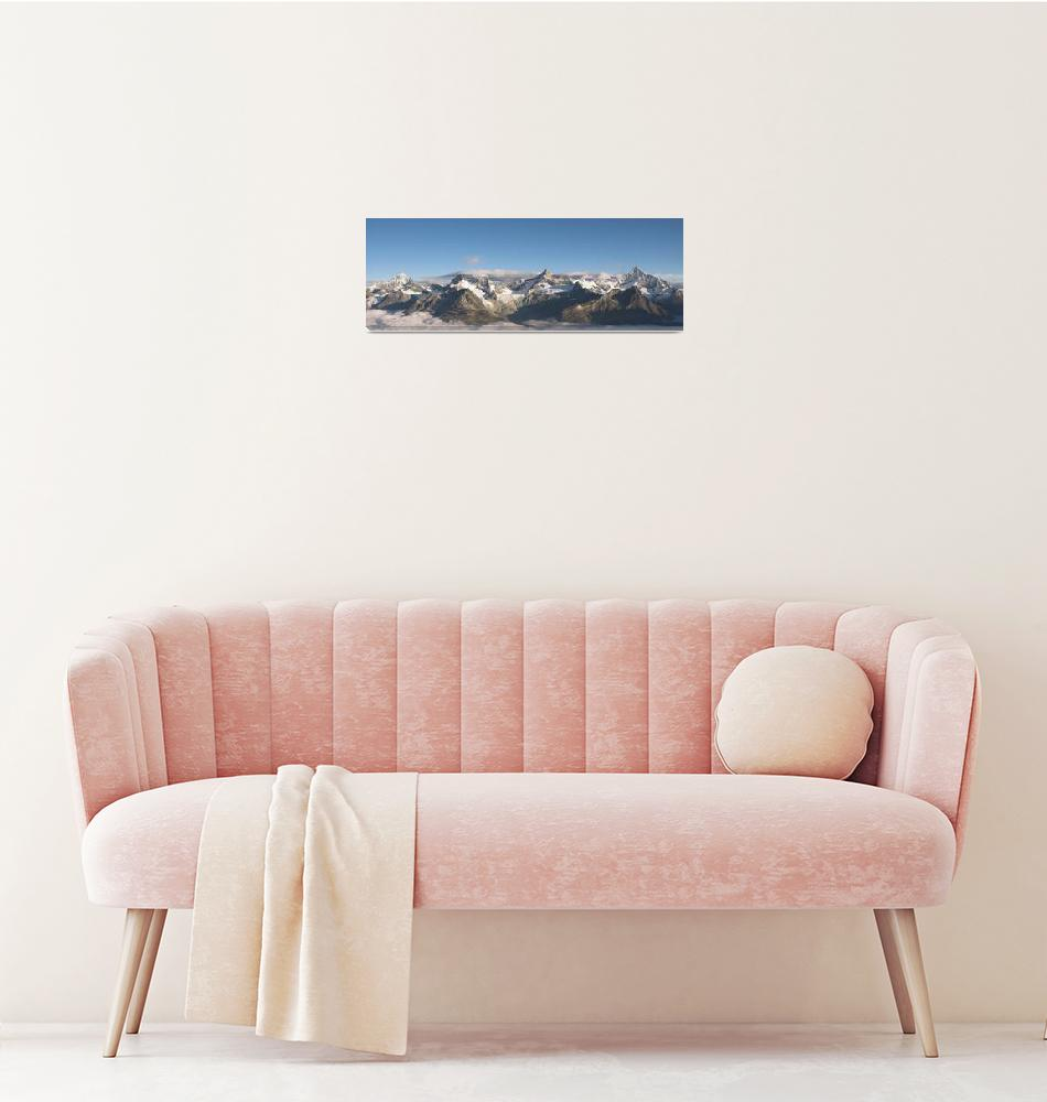 """Mountain range above Zermatt""  (2007) by peterwey"
