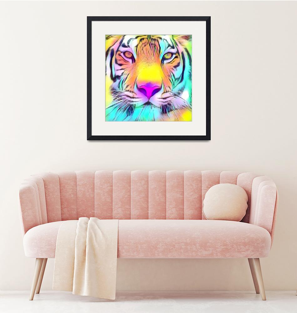 """""""Colorful Tiger Face""""  by rogueart"""