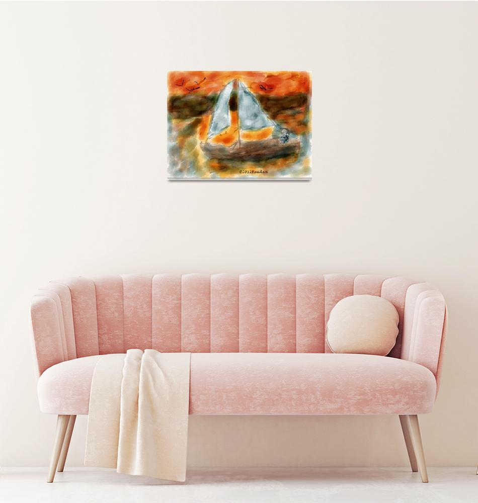 """""""After a day on the water-Sunset on a Sailboat"""" (2012) by artimus"""