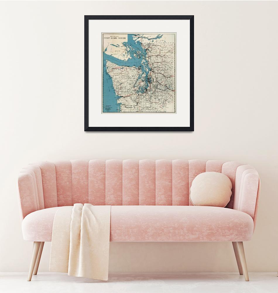 """""""Vintage Map of The Puget Sound (1919)""""  by Alleycatshirts"""
