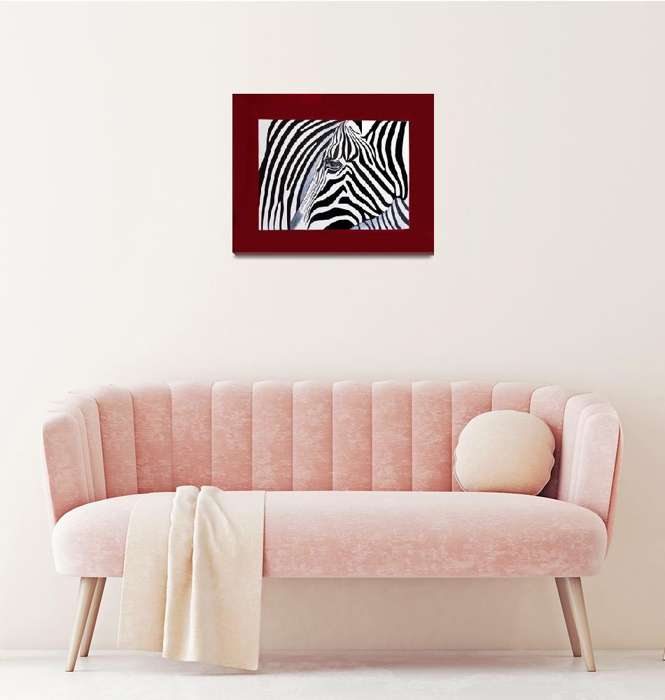 """""""Zebra abstract on red"""" (2011) by Spangles44"""